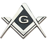 Cut Out Shaped Square and Compass Masonic Car Bumper Emblem  Disc for Freemasons. (Masonic gifts) - back adhesive sticker