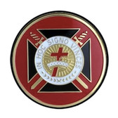 Freemasons Car Emblem / Knights of Templar Cross - In Hoc Signo Vinces symbol with Red background. Masonic Car Bumper Decal.