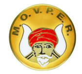 Masonic Car Emblem - Grotto / M.O.V.P.E.R symbol with yellow background for Freemasons - back adhesive sticker