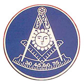 Freemasons Car Emblem / Past Master symbol with Dark Blue background. Masonic Car Bumper Decal