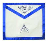 Past Master - Masonic Blue Lodge White and Blue Duck Cloth Apron For Freemasons - Past Master Compass logo with all seeing eye at top. Masonic Lodge Regalia and Apparel Merchandise.