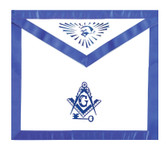 Masonic Lodge Regalia - International Mason Key - Masonic Blue Lodge White and Blue Duck Cloth Apron For Freemasons - Key, Compass and Square logo with all seeing eye at top. Masonic Apparel Merchandise.