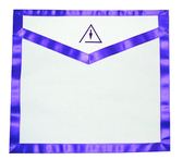Cryptic Mason Left Break - Masonic Lodge White and Purple Duck Cloth Apron For Freemasons - Royal and Select Cryptic Trowel Icon with left break on top. Masonic Lodge Regalia and Apparel Merchandise.
