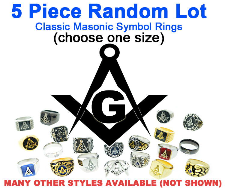 Five (5) Pack - Random Freemason Rings Cheap (Select Size) - Suggested  Value $175 - Mixed Lot of Stainless Steel Wholesale Masonic Rings - choose  one
