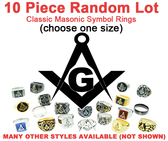 wholesale masonic rings Ten (10) Pack - Random Freemason Rings - Suggested Value $350 - Mixed Lot of Stainless Steel Wholesale Masonic Rings Cheap - choose one size per set.