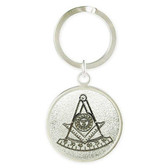Past Master Freemason Keychain with Silver tone and etched Compass and Square symbol. Masonic Gifts.