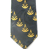 Past Master Masonic Neck Tie - Black and Yellow Polyester long tie with duplicated Masonic pattern design for Freemasons masonic neck ties