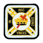 Colorful Knights of Templar Patch for Freemasons - Classic In Hoc Signo Vinces text and Symbolism for Freemasons