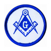 Blue Lodge Round Masonic Patch - Classic Freemason's symbol with blue and white compass and square on round surface.