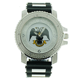 masonic watches Scottish Rite Masonic Watch - Black Silicone Band - 32nd Degree Scottish Rite Symbol - Silver Tone Face Dial Watch