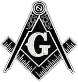 Black and white Masonic Cut Out Shaped Iron on Patches For Freemasons