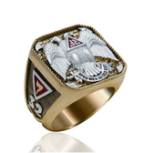 Scottish Rite Freemason Ring / Thick Masonic Ring- 32nd Degree Scottish Rite Mason Symbol Logo with Gold Tone Band
