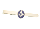 Masonic Lodge Regalia - Round Symbol Tie Clip / Tie Bar - Gold Color with Classic Freemasons Emblem