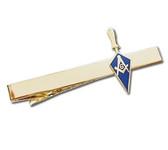 Masonic Regalia - Masonic Lodge Blue Trowel Tie Clip / Tie Bar - Gold Color with Classic Freemasons Symbol
