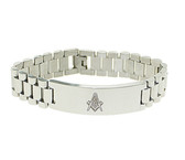 Masonic Bracelet - Silver Tone - Stainless Steel Freemason - Linkage Bracelet with Simple Masonic Symbol