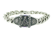 Freemasons Bracelet - Silver Tone - Stainless Steel Masonic Linkage Bracelet with Masonic Pillars and Sun Symbol