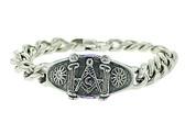 Freemasons Bracelet - Silver Tone - Stainless Steel Masonic Linkage Bracelet with Masonic Pillars and Sun Symbol