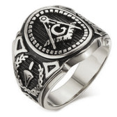 Masonic rings - Silver Color Freemason Ring - stainless steel with classic center design, pin stripes, etched tool symbols (Masonic Ring for sale)