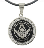 Widows Sons - Silver Color Stainless Steel Masonic Freemason Pendant Medal Charm with CZ Rim and Skull Square and Compass - In Memory Of Hiram Abiff. Includes PVC Chain Necklace