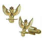 Scottish Rite 33rd Degree - Wings Up - Masonic Cufflinks - Gold tone with color enamel - Classic Freemasons Symbol. Masonic Regalia Merchandise for the Lodge