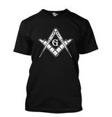 Black Masonic T-Shirt For Freemasons - Bold White Masonic Compass and Square in Center - V-Neck