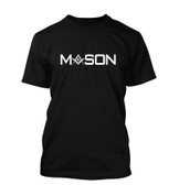 Black Masonic T-Shirt For Freemasons - Bold White Mason Text with Compass and Square inside words