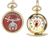 Shriner's Pocket Watch - Gold Tone Steel - Featuring a Freemason Carrying Child / Masonic Order Symbolism Elegant Design