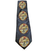 Masonic Neck Tie - Black Background Polyester long tie with York Rite Multi Symbol design Masonic pattern design for Freemasons. Knights Templar, Holy Royal Arch and Cryptic Masons