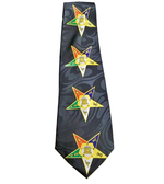 OES Neck Tie - Colorful Order of the Eastern Star on Black Polyester long tie with duplicated Masonic OES pattern design