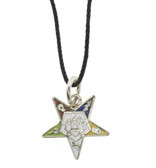 OES Dangling Pendant with Order of the Eastern Star Symbolism - Includes Black PVC Necklace
