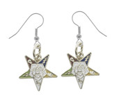 OES Dangling Hook Earrings with Silver Tone Order of the Eastern Star Symbolism - One Pair. Great O.E.S Gift.