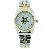 Order of the Eastern Star Watch - OES Symbol on Duo Tone Silver with Gold Steel Band - White Face Dial