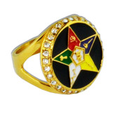 Order of the Eastern Star OES Ring - Black and Gold Tone CZ Stones - Masonic Symbolism Jewelry