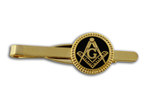 Masonic Tie Bar / Tie Clip for Free Masons with black enamel weaved circle symbolism