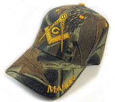 Freemason's Baseball Cap - Green Camouflage Hat with Mason text and Compass and Square Symbol - One Size Fits Most Adults Masonic Cap