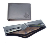 One (1) Masonic leather Wallet with Masonic Compass and Square. Black - Multiple pockets and ID compartments - wallet for Freemasons