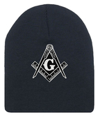 Masonic Hat Winter - Black Beanie Cap - Black and White Standard Masons Symbol. One Size Fits Most Freemasons Hat. Masonic Clothing, Apparel and Merchandise