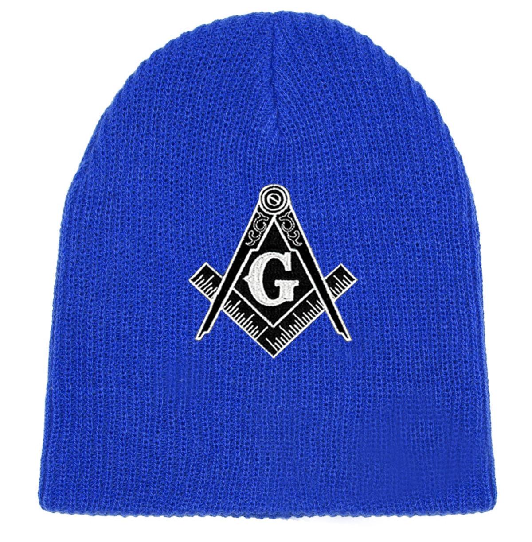 3af79fe1 Free Masons Hat Winter - blue Beanie Cap - Black and White Standard Masons  Symbol.