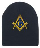 Masonic Hat Winter - Black Beanie Cap with Golden Standard Masons Symbol - One Size Fits Most Freemasons Hat. Masonic Clothing, Apparel and Merchandise.