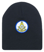 Freemason's Cap Winter - Black Beanie Hat with Bright Blue and Gold Past Master Masonic Symbol - One Size Fits Most. Freemason Merchandise, Clothing and Apparel