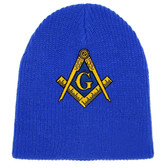 Masonic Hat Winter - Royal Blue Beanie Cap - Golden Compass Masons Symbol. One Size Fits Most Freemasons Hat. Masonic Clothing, Apparel and Merchandise