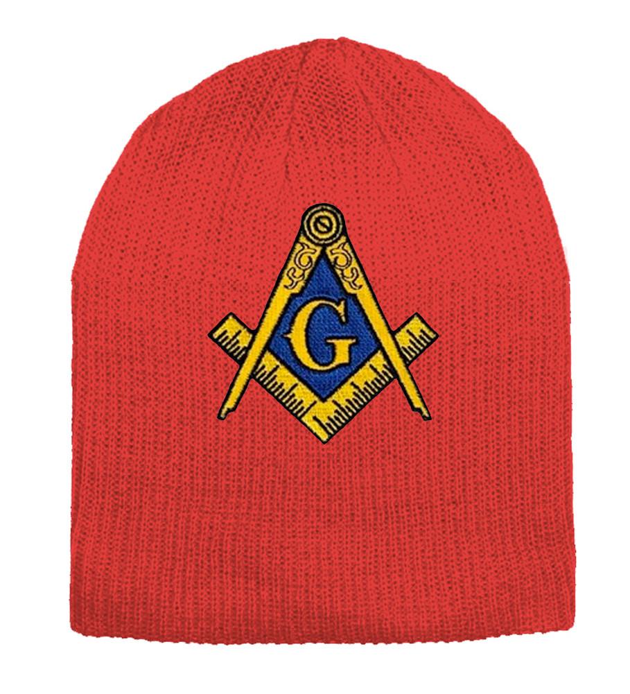 4c71cd7f Masonic Hat Winter -Red Beanie Cap - Golden Compass Masons Symbol. One Size  Fits