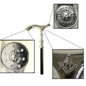 Freemason's Walking Cane - Curved Top Design with Sun, Moon and Compass Square Masonic Symbolism
