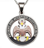Scottish Rite - 33rd Degree Silver Color Stainless Steel Masonic Freemason Pendant Medal Charm. Crowned Double Headed Eagles. Includes Necklace