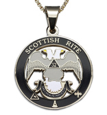 Scottish Rite 32nd Degree - Silver Color Stainless Steel Masonic Freemason Pendant Medal Charm. Double Headed Eagles. Includes Necklace