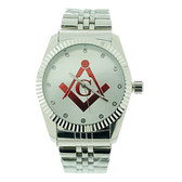 Masonic Watch - Red Lodge Masonic Logo Compass & Square - Silver Color Steel Band - Full Silver Face Dial Freemason Symbol Watch