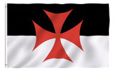 Knights of Templar Masonic 3x5 Polyester Flag - Black and White Background and Red Cross Freemasons Symbol