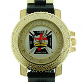 Knights of Templar Watch - In Hoc Signo Cross - Black Silicone Band - York Rite Masonic Symbol - Color Face Dial Watch