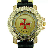 Knights of Templar Watch - Shield with Red Cross - Black Silicone Band - York Rite Masonic Symbol -Watch