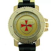 Knights of Templar Watch - Shield with Red Cross - Black Silicone Band - York Rite Masonic Symbol -Watch